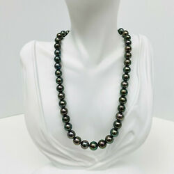 Tahitian Pearl Necklace Loose Strand Round 8-10mm Forest Greens Peacock 16 Aaaa