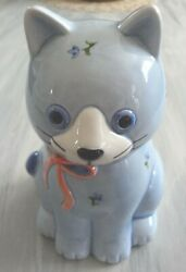 Vintage Otagiri Ceramic Blue Cat Japan Potpourri Holder