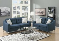 Living Navy Color Sofa Loveseat Linen Like Fabric Tufted Couch Pillows Cushion