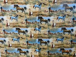 New Horses on The Prairie 100% Cotton Fabric by The Yard