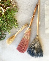 Vintage Set /3 Brooms Wall Hanging Boho Chic Decor Antique Woven Straw