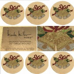 X6 Nicole Miller Christmas Bells Holly Beaded Placemat Set Holiday Charger 15