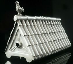 Novelty Portuguese Silver Chicken Coop Used Toothpick Holder 20th Century