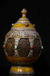 11and039and039 Nepal Beeswax Inlay Silver Turquoise Red Coral Buddhist Container Pot Jar