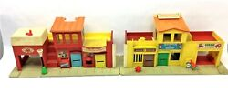 2 Vintage Used Fisher Price Theater Play Family Village Fire House Toy Buildings