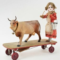 Antique German Articulated Pull Toy Milk Maid Leading Her Cow