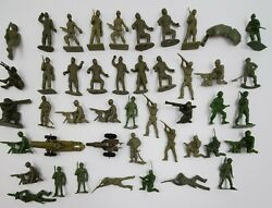 Vtg Lot Of 45 Mixed Marx Timmee Mpc Green Plastic Army Men Soldiers Toy Figures