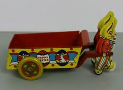 Wyandotte Happy Easter Rabbit Pulling Hand Cart Lithograph Pressed Steel Tin Toy