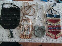 Set Of 4 1900and039s Antique Art Deco Hand Beaded Purses All One Of A Kind