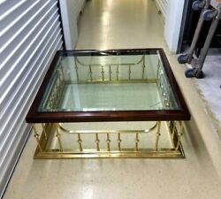 Erwin Lambeth Rare Silver Spindles Square Brass Oak Glass Coffee Table Stunning