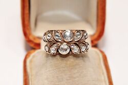 Antique Ottoman Style 14k Gold Vintage Natural Rose Cut Diamond Decorated Ring