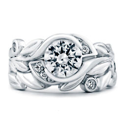 Brilliant Cut 0.55 Ct Real Diamond Engagement Band Sets 14k White Gold Size 6 7