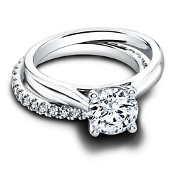1.12 Ct Round Real Diamond Engagement Band Set 14kt White Gold Rings Size 5 6 7