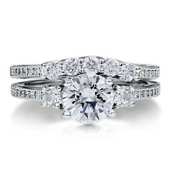 0.97 Ct Round Cut Real Diamond Band Sets Size 7 6 14kt White Gold Wedding Rings