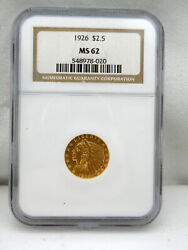 1926 Gold Us 2.5 Indian Head Quarter Eagle Coin Ngc Ms 62,free Shipping