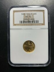 1995 1/10 Oz American Eagle Gold 5 Ngc Ms70 Perfect Graded Coin Rare Ac