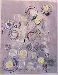Mixed Media On Canvas Painting Five Moons Dancing Iii By Lana Thomas