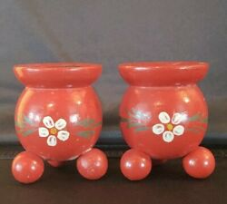 Vintage Handpainted Red Round Edelweiss Wood Swedish Candlesticks Holders