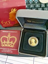 2013 25 1/4oz Gold Proof 60th Queens Coronation Coin In Capsule And Box Of Isu