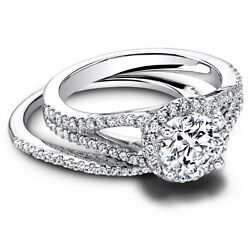 1.00 Ct Round Real Diamond Engagement Band Set 14kt White Gold Ring Size 6.5 7 8