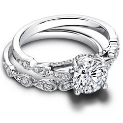 0.90 Ct Round Cut Real Diamond Band Sets 14k Solid White Gold Rings Size 7 6 5.5