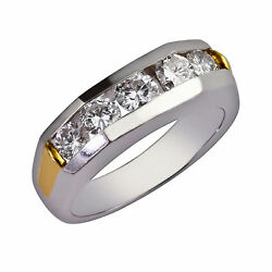 0.60 Ct Real Diamond Menand039s Wedding Rings Solid 14k White Gold Size 9 10 11 12