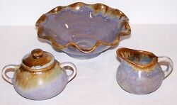Pigeon Forge Tennessee Art Pottery D. Boling Small Sugar Creamer And Bowl Set