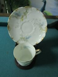 Limoges France Gfm-gdm Coffee Cup And Saucer With Stand