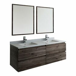 Fresca Formosa Wall Hung Double Sinks Bathroom Vanity With Mirrors In Brown