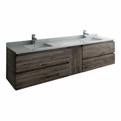 Fresca Formosa 84 Wall Hung Double Sinks Acacia Wood Bathroom Cabinet In Brown