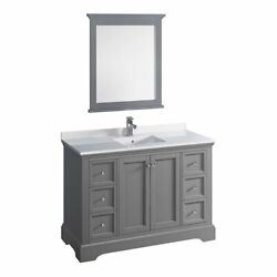 Fresca Windsor 48 Traditional Wood Bathroom Vanity With Mirror In Textured Gray