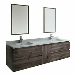 Fresca Formosa 72 Wall Hung Double Sinks Bathroom Vanity With Mirrors In Brown