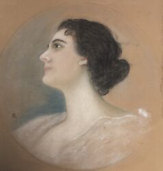 Kaulbach Friedrich August V. 1850-1920 Portrait Of A Lady In Profile Charmant