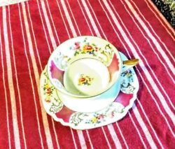 German Tea Cup And Saucer China Vintage Made In Germany 56 Burgundy Gold Floral Ec