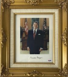 Ronald Reagan Signed Twice Authenticated 8 X 10 Photo Psa/ Jsa Full Letters