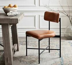 Nib Pottery Barn Maison Leather Dining Chairs Set Of 4 Retail 1676