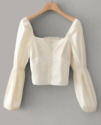Square Neck Bishop Long Sleeve Buttons Front Shirred Back Blouse Top Casual