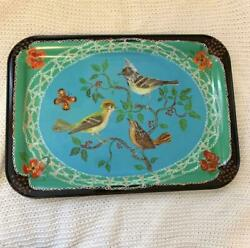 Nathalie Lete Anthropologie Metal Tray Green Blue Bird Tree Butterfly From Japan