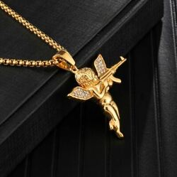 Menand039s Hip Iced Icy Hop Angel Necklace And Pendant 14k Gold Plated Free Link Chain