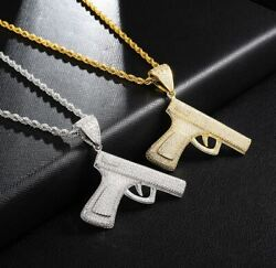 Mens Hip Iced Icy Hop Gun Shape Pendant 14k White Gold Plated Free Rope Chain