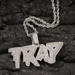 Menand039s Iced Icey Trap Pendant Necklaces Jewelry 14k White Gold Plated Free Chain