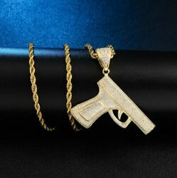 Mens Hip Iced Icy Hop Gun Shape Pendant 14k Yellow Gold Plated Free Rope Chain