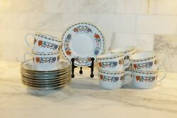 Limoges France Ceralene A. Raynaud Floral Cups And Saucers Set Of 8 Euc