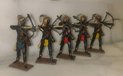 Britains Ltd Antique Toy Set Of 5 Hollow Casted Indian, Egyptian Archers Rare