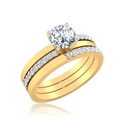 0.60 Ct Real Diamond Solitaire Ring 14k Solid Yellow Gold Womenand039s Size 5 6 7