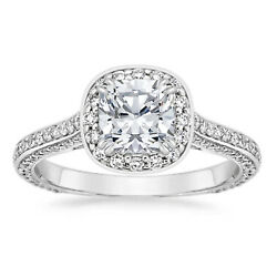 0.95 Ct Round Halo Cut Real Diamond Solid 14k White Gold Womens Engagement Rings