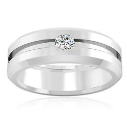 Natural Diamond 0.21 Ct Solid 14 K White Gold Men's Bands Certified Ring Size 9