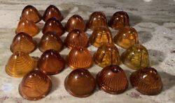 Vintage Auto Car Glass Lenses 21 Pc. Tail Light Etc Amber Used Sold As A Lot