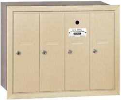 Vertical Mailbox - 4 Doors - Sandstone - Recessed Mounted - Usps Access