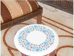 24and039and039 White Table Top Center Coffee Inlay Pietra Dura Marble Dining Antique H1